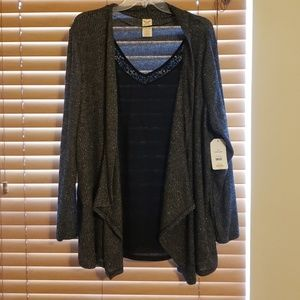 NWT Dazzling black sweater with sewn in tank